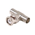 Steren 200-155 BNC Male to 2 BNC Female Adapter Tee Jack Nickel Plated Brass BNC Dual Female to BNC Male Connector Video 1 Pack Signal Cable Joint Extender, Commercial Grade, Part # 200155