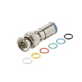 Steren 200-162 BNC Male Compression Connector RG59 Coaxial Cable Permaseal II Audio Video Six Color Bands Nickel Plate High Performance 1 Pack Lot Coaxial Cable RG-59 Line Plug BNC Adapter