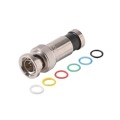 Steren 200-167 BNC RG6 Compression Connector with Color Bands BNC to F Coax RG-6 Plug Male Snap-N-Seal Adapter, RF Digital Audio Video Component, PermaSeal Commercial Grade, Multi-Color ID Rings