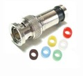 Vanco Compression BNC Type Connector for RG59 with Color Bands Anti-Corrosion Nickel Plated brass Six Color Coded Cable Bands BNC to F Coax RG-59 Plug Male Snap-N-Seal Adapter, Multi-Color ID Rings