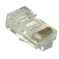 Steren 301-172 CAT5E RJ45 Modular Plug 2 Prong 8P8C Stranded Round 50 Micron Gold Plated Contacts 1 Pack Connector 8 Pin Male Network Data Telephone Line RJ-45 Plugs for Cat 5e, Part # 301172
