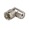 Steren 200-197 UHF Male to UHF Female Plug Right Angle Adapter Connector UHF Jack to UHF Plug Commercial Grade Nickel Plated with Delrin Insulator TV Antenna Satellite Components Plug, Part # 200197