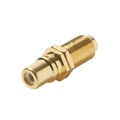 Steren 251-508 Single F to RCA Female Coupler WHITE BAND Gold Plate Adapter Connector Insert Wall Plate Coaxial to RCA Female Plug Jack 1 Component Connector, Part # 251-508