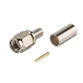 Eagle SMA Connector Crimp Male RG58 3 Piece Commercial Grade Coaxial Plug Adapter with Gold Plated Contacts and Teflon Insulator RG-58 Crimp-On Connector SMA Series Component Plug