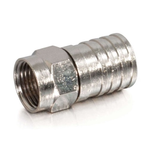 Steren 200-033 Quad Shield RG6 F Connector Crimp-On Coaxial Cable Hex  Nickel Plated RG-6 Quad Single 1 Pack Digital A/V TV Signal Component  Shield