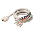 Eagle 12' FT VGA HD15 Cable 5-RCA Male Component Video SVGA RGB 5 RCA Gold Ivory Jacket 15 Pin HD-15 Ivory Gold Python HDTV RGBYW Video Audio Cable Stereo Color Coded Double Shielded Digital Signal Jumper