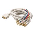 Eagle 12' FT VGA 5 BNC Component Cable HD-15 Male 15 Pin Ivory Double Shielded RGBHV Video VGA RGBYW Audio Dual Shield Ivory Cable Stereo 5-BNC Male to SVGA 24 K Gold Plate Color Coded