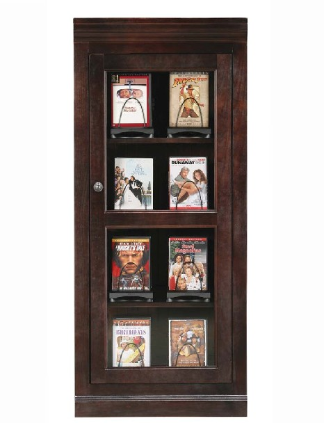 Eagle Media Tower 200 DVD Storage Cabinet Sparta Coastal American Hardwood  With 3 Fixed Shelves, Shown In Caribbean Rum Finish, Part # E 72501