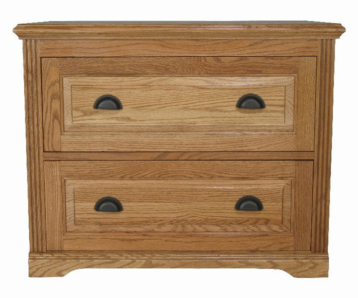 Eagle 36 X 30 Wide Harvest Oak Ridge Solid Wood Home Office Furniture 2 Drawer Lateral File Cabinet With Brushed Black Hardware Fluted Detail And