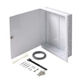 "Eagle Flush Mount Enclosure 19"" Inch with Cover 14 3/8"" Inch W x 3 1/2"" Inch D 18 Gauge Steel Keyed Latch Home Audio Video Distribution Hub Box 16"" On Center White Finish FastHome Home Master Hub Junction Box"