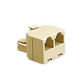 Steren 301-024IV Modular T Adapter Phone 2-wat Ivory RJ11 Telephone Adapter RJ11 Male to 2 RJ-11 Female Splitter 2 Way Dual Jack Plug Cable Connector Outlet Snap-In Component, Part # 301024-IV