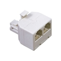 Woods 0703W 2-Way Phone Duplex Splitter Modular T-Adapter Line Dual White Jack Divider Telephone Cord Snap-In Jack Connector Extension, Part # 0703-W