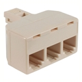 Eagle 3 Way Phone Splitter Line Adapter Ivory RJ11 Modular Jack Wall Telephone Tee