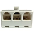 Leviton C2648-W Telephone 3 Way Tee Adapter White 6P6C 6 Conductor Wire Splitter 3 Jack RJ12  Modular Phone Line Splitter Tri-Plex RJ11 Wall Splitter 3 Way Triplex Snap-In Jack, Part # C2648W