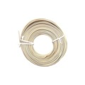 Summit 100' FT Phone 24 AWG Ga 4 Conductor Ivory Line Cord Modular Round Cable Telephone Cord Standard Round Wire 24-4 Data Audio Signal Transfer Telephone Extension Cable, Bulk Roll