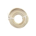 Eagle 50' FT Round Telephone Cable Ivory 24 Gauge 4 Conductor Phone Cord Line Modular Standard Round Wire 24-4 Data Audio Signal Transfer Telephone Extension Cable, Bulk Roll