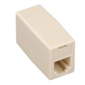 Steren 300-037 Telephone Coupler Ivory 6-Conductor 6P6C Data Modular RJ12 Gold Inline RJ-12 Phone In-Line Cable Female Jack Cord Add-On Snap Plug Adapter, Part # 300037