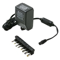 Eagle Universal Digital Switching Power Supply Adapter 1000 mA UL with Detachable Adapters DC/AC 6' FT Cord 3, 4.5, 6, 7.5, 9, 12 VDC Output Converter Transformer AC DC Power Supply 110 VAC 50-60 Hz Adapter with Switchable Voltage Outputs