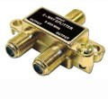 2 Way Video Splitter Gold UHF/VHF Signal Antenna 5 - 900 MHz with 75 Ohm Coax Cable Connections, 1 Input / 2 Output Component Line Adapter