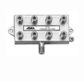 8 Way 1 GHz Splitter 1 Port Power Passing Digital Vertical Cable UHF VHF Commercial Grade JVI HDTV 5 - 1000 MHz Combiner Signal JVI Antenna 75 Ohm Distribution Component, Coax RF DC Passive, Part # 25-SPL8U
