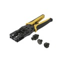 Steren 204-036 Professional Compression Crimp Tool F BNC RCA Connector Universal 3 in 1 Adjustable Combo Crimper with Additional Head Attachments and Cutting Blade, Part # DL-8073RC, 204036