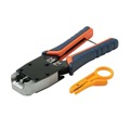 Eagle Modular Crimping Tool Prograde All In One RJ11 RJ12 RJ45 Plugs Hardened Steel Cutter Stripper 6x4 6x6 8x8 Hardened Steel Cutter Stripper Crimper RJ-11 RJ-12 RJ-45 Flat Round Stranded Modular Plug Connectors