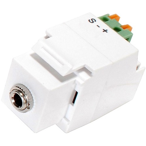 "Eagle Keystone Jack 1/8"" Inch Mono Mini Plug White 3.5mm Mono Socket Frequency 47KHz Module Fast Fingertip Insertion 22 24 AWG IR Emitter Insert Jack Plug Wall Plate Module Component, Part # CHO1028W"
