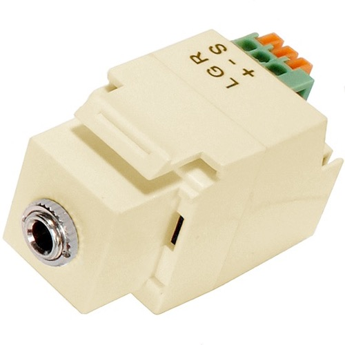 "Eagle Keystone Jack 1/8"" Inch Stereo Mini Plug Ivory 3.5mm Stereo Socket Frequency 47KHz Module Fast Fingertip Insertion 22 24 AWG IR Emitter Insert Jack Plug Wall Plate Module Component, Part # CHO1029I"