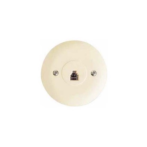 Eagle Round Telephone Wall Plate Jack Ivory 4 Conductor RJ11 Modular 4-Conductor Telephone Jack Wall Plate RJ11 6P4C Gold Plated Contacts Flush Mount RJ-11 Data Signal Line Plug Face