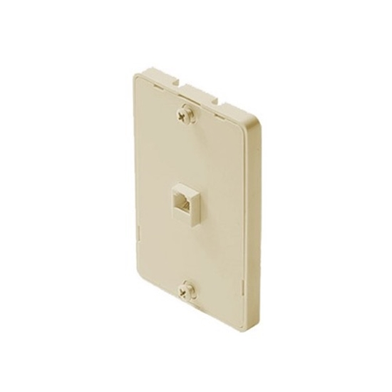 Phone Jack Wall Mount Plate 6P4C 4 Conductor Ivory Modular RJ11 RJ-11 4 Wire Surface Flush Line Plug Cover Telephone Connect Hanger, Single Pack, Part # Leviton C0253-I