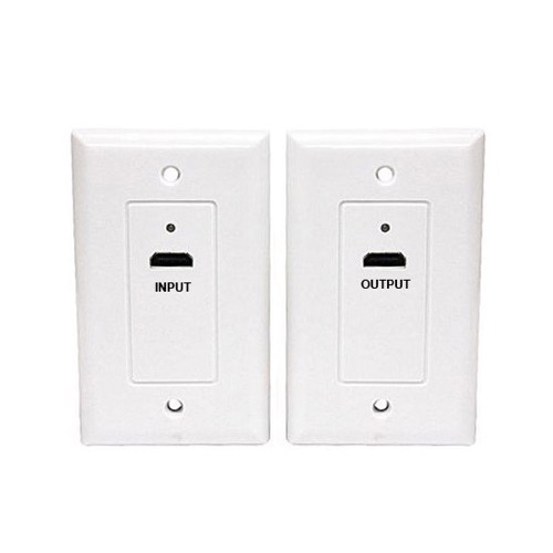 Eagle HDMI Over CAT5E Extender Wall Plate White CAT6 Pair Single Port 1080p 1.3 HDTV Face Plate Pair 1 HDMI Input Plate and 1 HDMI Output Plate Signal Transfered Via CAT-5e Cable, High Definition Interface HDTV Applications