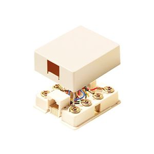 Steren 301-145IV Surface Phone Wall Jack Block Modular RJ11 Ivory Surface Mount, Telephone 4 Wire Conductor J-Box Line Plug Port, Junction Block Cover, Part # 301145-IV