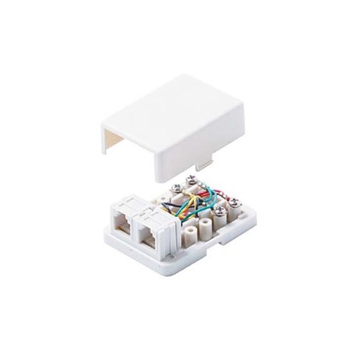 Steren 300-146WH Telephone 2 Port RJ11 6P4C Modular Surface Mount Jack White 4 Conductor Gold Plated Modular Dual RJ11 Telephone Line Block Jack Phone Data Signal Telephone Plug Box, Part # 300146-WH