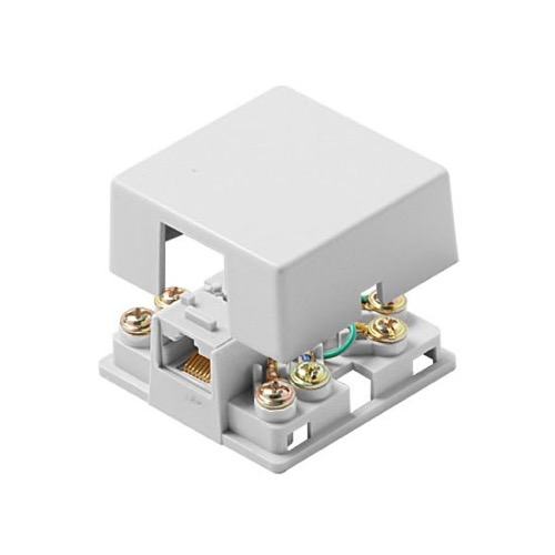 Steren 300-147WH Modular Surface Mount Jack 6-Conductor RJ12 White Phone UL Wire One Port 6P6C Block Telephone Phone Line Cable Connect Wall Box Plug, Part # 300147-WH