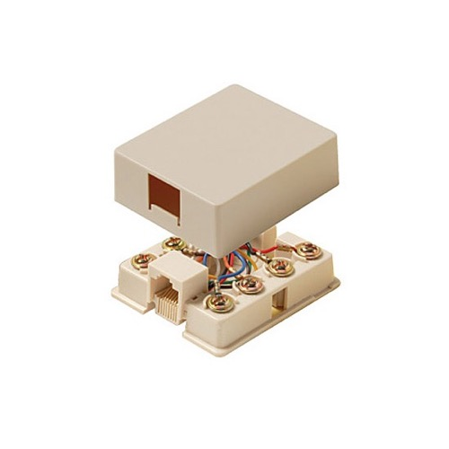 Steren 300-149IV Data Surface Mount Jack 8 Conductor Ivory Modular Gold Contacts Single Port 8P8C 1-Port RJ45 Surface Mount Jack 8-Conductor Wire One Port Data Block Phone Line Cable Connect Wall Box Plug, Part # 30014IV