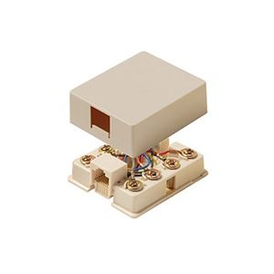 Eagle Data Surface Mount Jack 8 Conductor Ivory Modular Gold Contacts Single Port 8P8C 1-Port RJ45 Surface Mount Jack 8-Conductor Wire One Port Data Block Phone Line Cable Connect Wall Box Plug