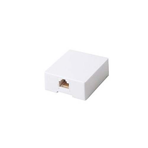 Steren 300-149WH Data Surface Mount Jack  8 Conductor White Modular Block UL Gold Contacts 8P8C 1-Port RJ45 One Port Data Block Phone Line Cable Connect Wall Box Plug, Part # 300149-WH