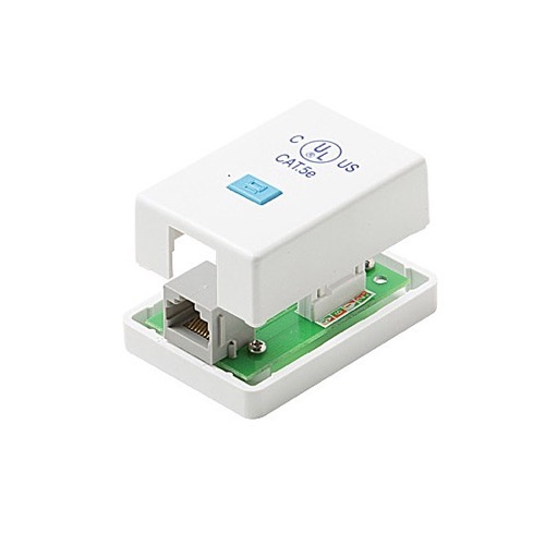 Steren 301-151WH Surface Mount Box Enclosure CAT5E Jack Single Port RJ-45 Female White 1-Port Surface Jack  to 110 IDC  Biscuit Block Modular Conductor Category-5e Telephone Data Line Plug Jack, Part # 301151-WH
