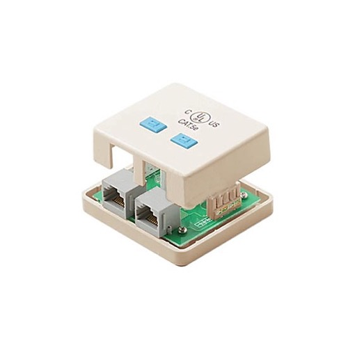 Eagle 2-Port CAT5E Surface Mount Box Ivory With Dual Jacks 110 IDC RJ45 UL Termination Female to Dual Port Mount Biscuit Block Modular RJ-45 Conductor Category-5e Telephone Jack Data Line Plug Jack