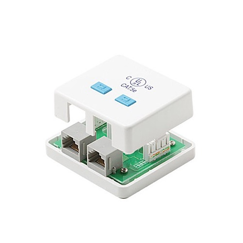 Steren 301-152WH CAT-5E 2-Port Surface Jack RJ45 Female to 110 IDC Dual Port White Mount Biscuit Block Modular RJ-45 Conductor Category-5e Telephone Data Line Plug Jack, Part # 301152-WH