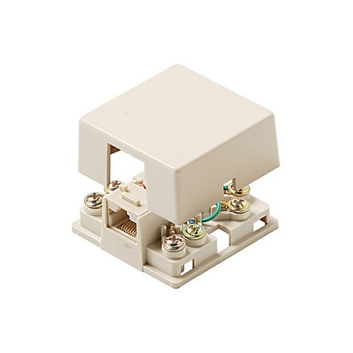 Eagle RJ45 Data Surface Mount Jack Ivory 8P8C Single Port Modular 8 Conductor Data With Shorting Bar to Header RJ31X 1-Port Block Telephone Data Line Plug Jack
