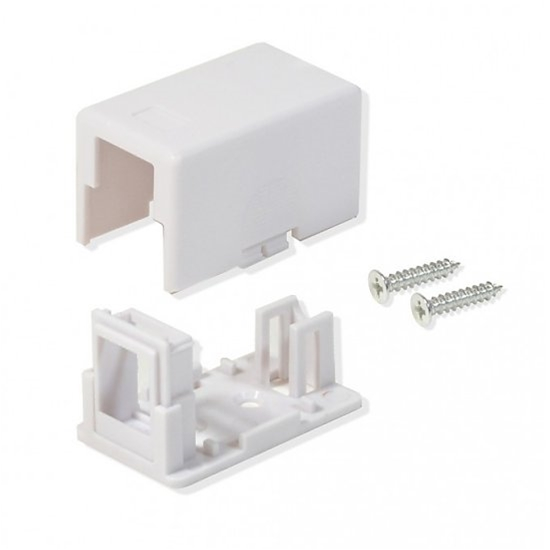 Channel Master 1 Port Keystone Surface Mount Jack White 1 Cavity Biscuit Box Housing Junction Modular Network Telephone Data Outlet, Part #ASM1W
