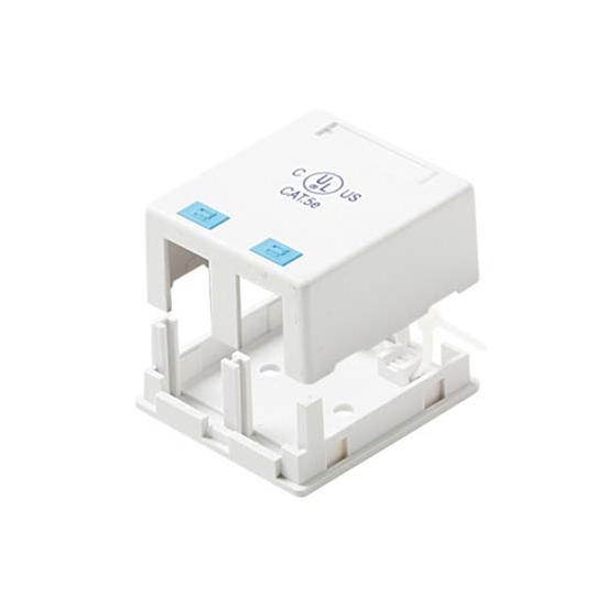 Steren 310-162WH Keystone Jack 2 Port Surface Mount Box Case Dual Cavity White Jack Block QuickPort Junction Modular Network Telephone Jack Data Outlet, Part # 310162-WH