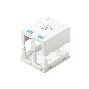 Eagle 2 Port Surface Mount Jack Keystone Box White 2 Cavity Biscuit Jack Case Block ASM2W Keystone QuickPort Junction Modular Network Telephone Jack Data Outlet, Part # ASM2-W