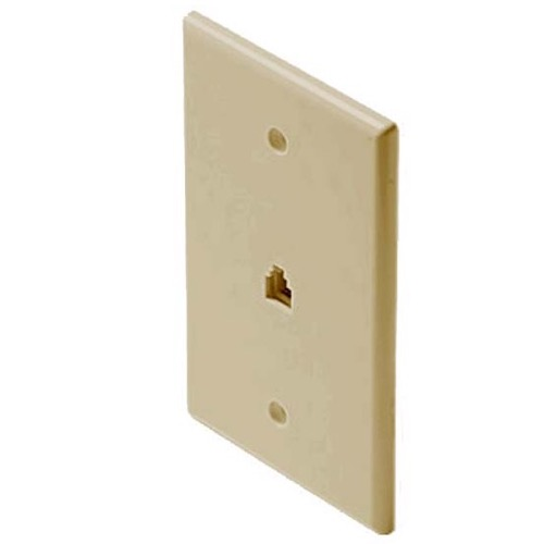 Eagle Telephone Wall Plate Ivory Mid Size Oversize RJ11 4 Conductor 3 1/8 x 4 7/8 Gold Contacts 6P4C Jack Face Plate Audio Signal Data Plug, Part # 300203-IV