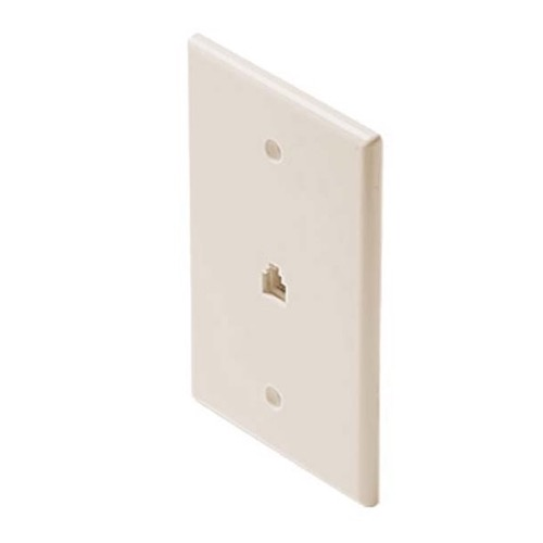 "Steren 300-203LA Wall Plate Telephone Jack Mid Oversize 4-Conductor RJ-11 Light Almond 3 1/8"" x 4 7/8"" Face Plate Modular Telephone Gold Contacts Face Plate Signal Data Plug, Part # 300203-LA"
