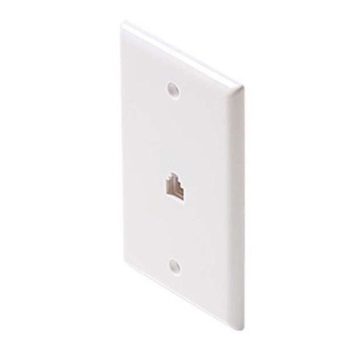 Steren 300-204WH Phone Wall Plate White 4 Conductor Smooth Finish Flush Wall Plate White Phone Modular Jack 6P4C RJ11 RJ-11 Wire Audio Signal Telephone Line Plug Jack, Part # 300204-WH