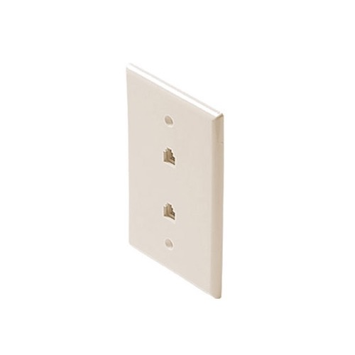 "Steren 300-213LA Dual Jack Telephone Wall Plate Light Almond RJ11 Mid Size Oversize 3 1/8"" x 4 7/8"" Modular Phone 2-Jack Face Plate 4-Conductor RJ-11 Phone Gold Contacts 6P4C Jack Face Plate Audio Signal Data Plug, Part # 300213-LA"
