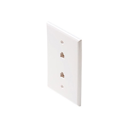 "Eagle Oversize Wall Plate Dual Phone White RJ11 Jack Oversize 3 1/8"" x 4 7/8"" Face Plate 4-Conductor RJ-11 Modular Telephone Gold Contacts 6P4C Jack Face Plate Audio Signal Data Plug"