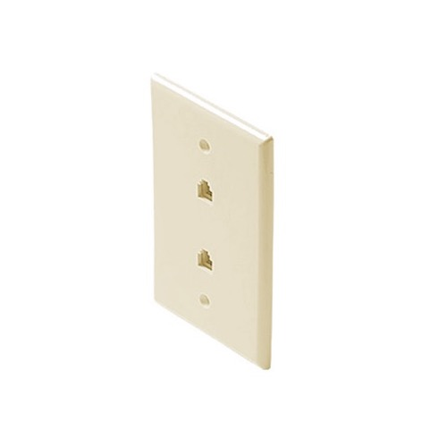 Eagle Dual RJ11 Telephone Wall Plate Almond 4-Conductor Modular Flush Face Jack 2 Socket 6P4C RJ-11 Face Plate Duplex Audio Signal Data Line Cord Plug, 2 Outlets